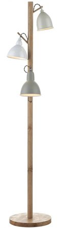 Dar Blyton Wooden 3 Light Floor Lamp With Painted Shades