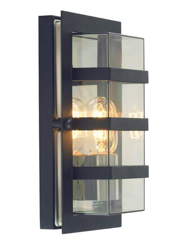 Norlys Boden Art Deco outdoor wall lantern black clear shade