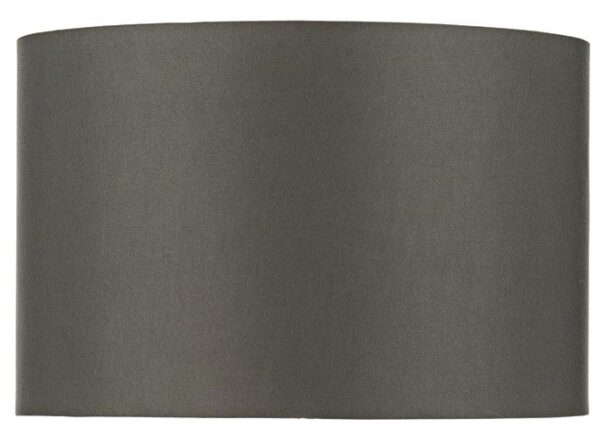 Dar Bokara 38cm Dark Satin Grey Drum Table Lamp Shade