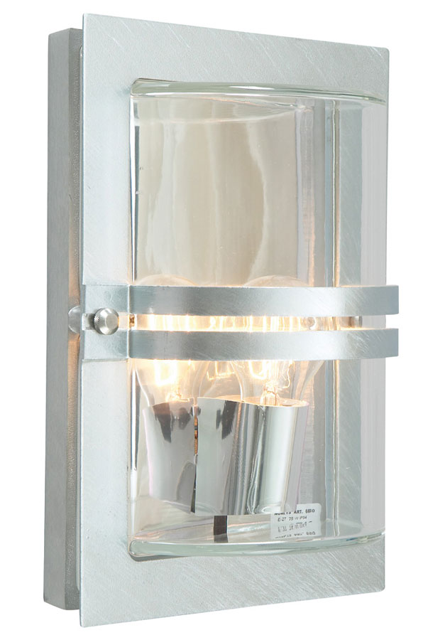 Norlys Basel Outdoor Wall Light Galvanised Steel Art Deco Style IP54