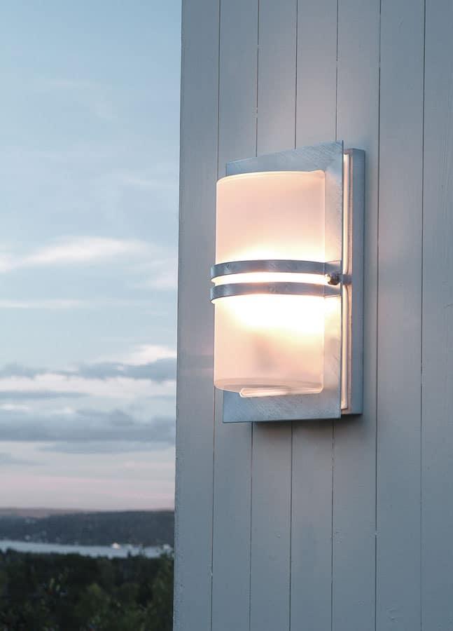 Norlys Basel Outdoor Wall Light Galvanised Steel Art Deco