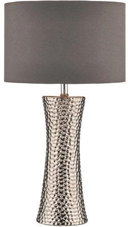Dar Bokara Tall Silver Table Lamp With Grey Lined Shade
