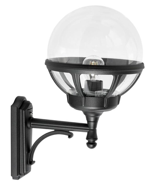 Norlys Bologna upward outdoor wall lantern black clear globe IP54