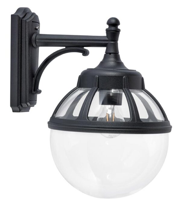 Norlys Bologna downward outdoor wall lantern black clear globe IP54