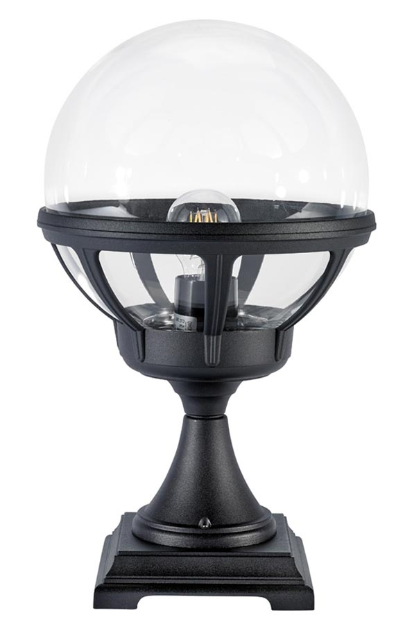 Norlys Bologna pedestal lantern black with clear globe IP54