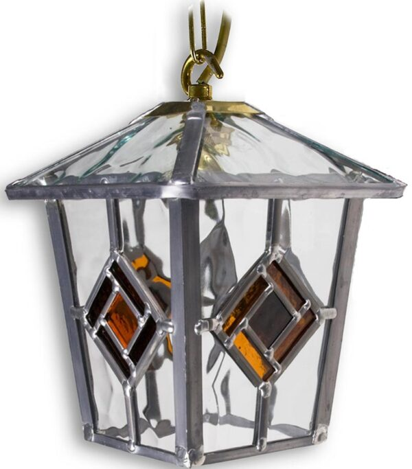 Buxton Handmade Amber Leaded Glass Hanging Outdoor Porch Lantern
