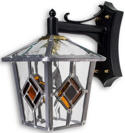 Buxton Traditional Amber Diamond Leaded Glass Outdoor Wall Lantern