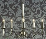 Stanford Traditional 5 Light Chandelier Polished Nickel