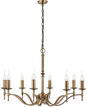Stanford Traditional 8 Light Chandelier Antique Brass