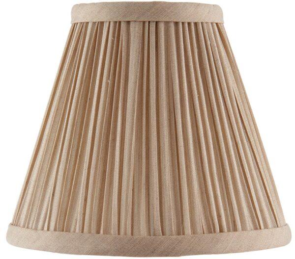 Kemp Pleated Beige Faux Silk 6 Inch Chandelier Lamp Shade