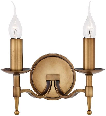 Stanford Traditional 2 Lamp Wall Light Antique Brass