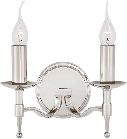 Stanford Traditional 2 Lamp Wall Light Polished Nickel