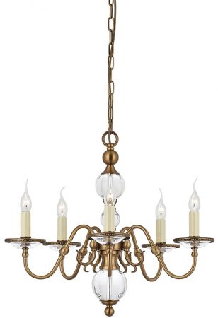 Tilburg Antique Brass 5 Light Flemish Style Chandelier