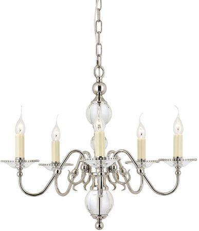 Tilburg Polished Nickel 5 Light Flemish Style Chandelier