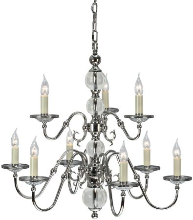 Tilburg Polished Nickel 9 Light Large Flemish Style Chandelier