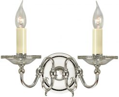 Tilburg Flemish Style 2 Lamp Wall Light Polished Nickel