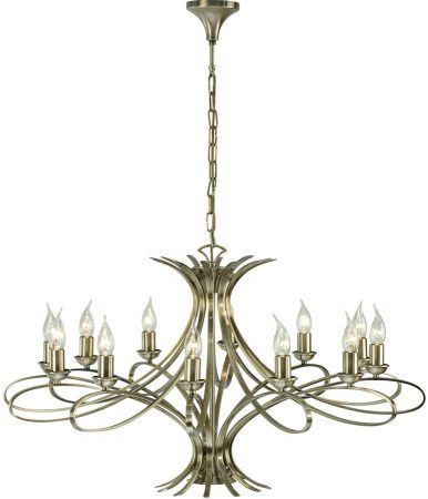 Penn Contemporary 12 Light Large Brushed Brass Chandelier