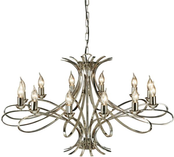 Penn Contemporary 12 Light Large Polished Nickel Chandelier