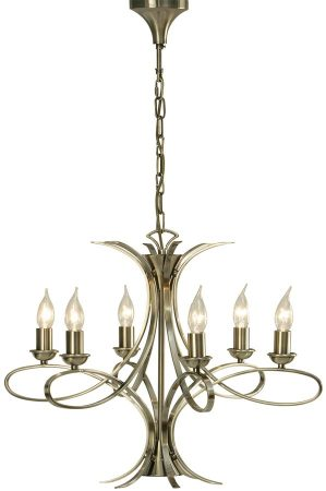 Penn Contemporary 6 Light Brushed Brass Chandelier