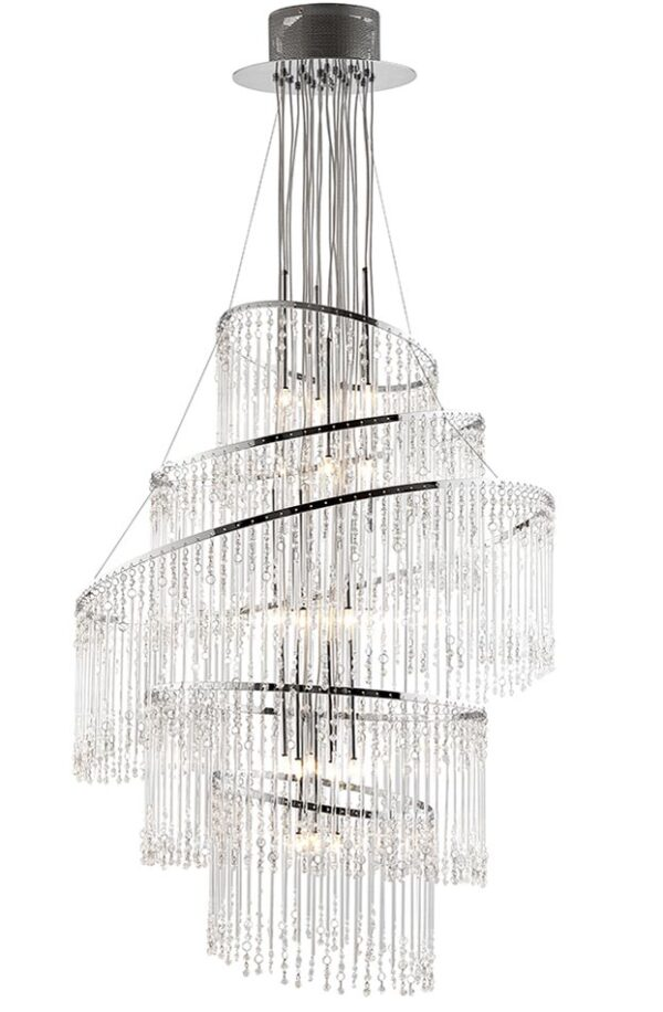 Camille 24 Light Chandelier Glass Rods & Beads Polished Chrome