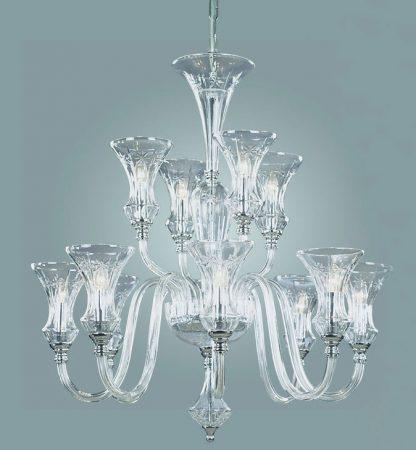 Stara Prestige Art Deco Style 12 Light Crystal Chandelier