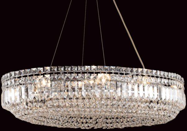 Olovo Chrome Oval 12 Light Strass Crystal Chandelier Pendant