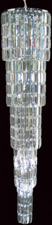 Padua Large Chrome 15 Light Crystal Stairwell Pendant