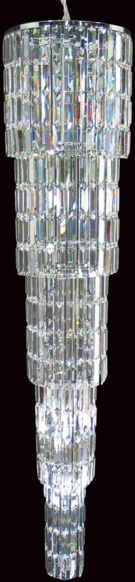 Padua Large Chrome 15 Light Crystal Stairwell Pendant