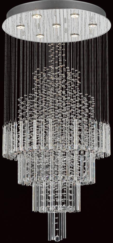 Barcelona Contemporary Chrome 7 Light Crystal Chandelier