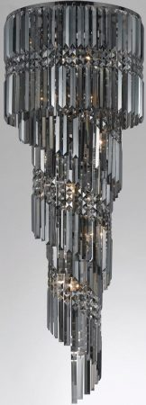 Toronto Gunmetal 14 Light Smoked Crystal Spiral Chandelier