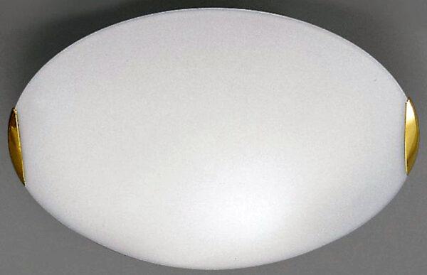 Flush 400mm Opal Glass 2 Lamp Ceiling Light Brass Clasps