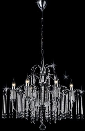 Bette Chrome Waterfall 6 Light Chandelier With Crystal Drops