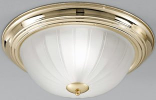 Polished Brass Flush Fitting 2 Lamp Ribbed Acid Glass Ceiling Light