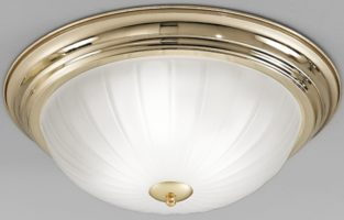 Polished Brass Flush 3 Lamp Ribbed Acid Glass Ceiling Light