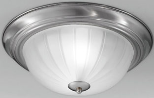 Satin Nickel Flush Fitting 2 Lamp Ribbed Acid Glass Ceiling Light