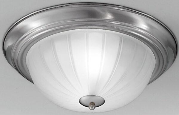 Satin Nickel Flush Fitting 2 Lamp Ribbed Acid Glass Ceiling Light