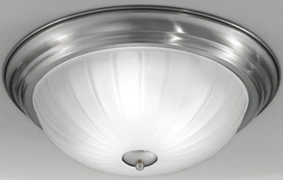 Satin Nickel Flush Fitting 3 Lamp Ribbed Acid Glass Ceiling Light
