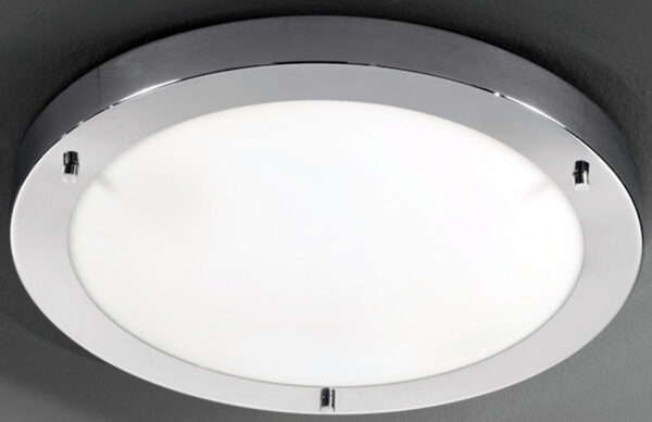 Franklite Chrome 410mm Flush Bathroom Ceiling Light
