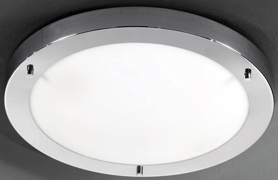 Traditional Bathroom Barclay Flush Fitting Glass Ceiling: Franklite Chrome 410mm Flush Bathroom Ceiling Light CF5682