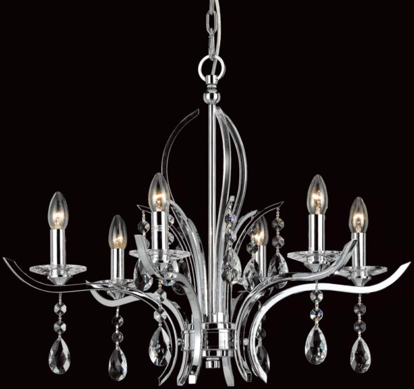 Impex Turin Polished Chrome 6 Light Chandelier With Crystal