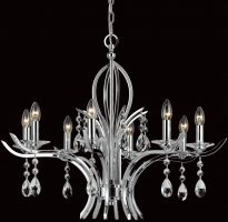 Impex Turin Polished Chrome 8 Light Chandelier With Crystal