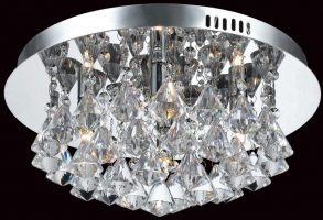 Impex Parma Small Circular Chrome 4 Light Flush Crystal Ceiling Light