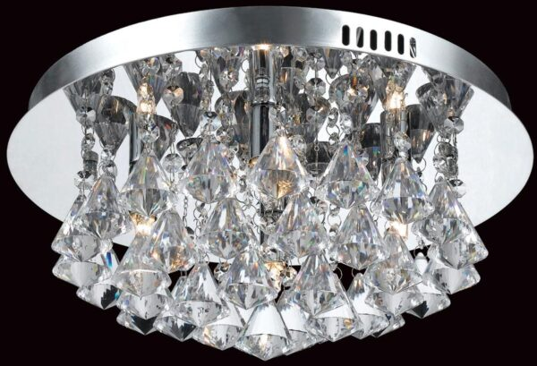 Impex Parma Small Circular Chrome 4 Light Flush Crystal Ceiling Light