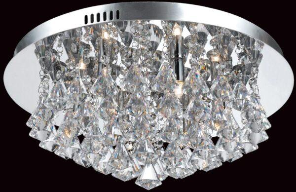 Impex Parma Circular Chrome 6 Light Flush Crystal Ceiling Light