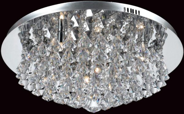 Impex Parma Circular Chrome 8 Light Flush Crystal Ceiling Light