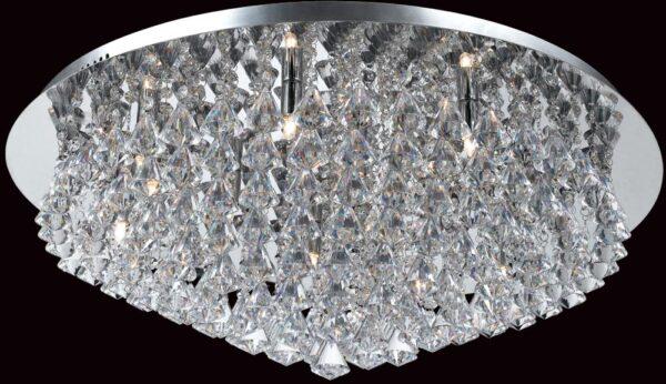 Impex Parma Circular Chrome 12 Light Flush Crystal Ceiling Light