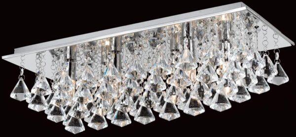 Impex Parma Rectangular Chrome 6 Light Flush Crystal Ceiling Light
