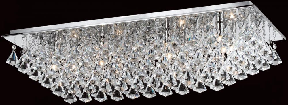 Impex parma rectangular chrome 8 light flush crystal ceiling light mozeypictures Image collections