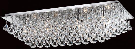 Impex Parma Rectangular Chrome 8 Light Flush Crystal Ceiling Light