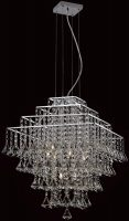 Impex Parma Small Square Chrome 6 Light Crystal Pendant Chandelier